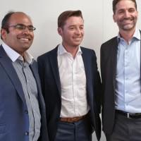De gauche à droite, Prithu Gaharwar, associé et co-fondateur de Go Cloud Solutions, Cyril Courtin, co-CEO de HR Path, et Thomas Ortega, associé et co-fondateur de Go Cloud Solutions. Crédit. D.R.