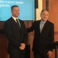 Dominique Cerutti (à gauche), PDG d'Altran, au côté de Paul Hermelin (à droite), PDG de Capgemini, lors de l'annonce du projet de rachat au siège social de Capgemini le 24 juin 2019 dernier. (Crédit : LMI/MG)