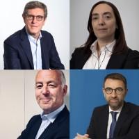 Philippe Clerc (en haut à gauche), reste directeur de l'entité HCM de Cegid. Marc Bruzzo (en bas à gauche), prend la direction France de la division, quand Jordi Aspa et Marina Ierace prennent respectivement la direction du marché ibérique et de l'Amérique latine. (Crédit : Cegid)