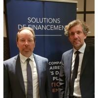 Franck Thouroude (à gauche), directeur du Credit Mutuel Equity, et Sébastien Luyat, dirigeant d'Axialease. Crédit photo : D.R.