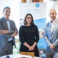 Badis Khaldi et Rym Dekar, co-fondateurs d'Afersys aux côtés de Benoît Koch, le fondateur de Versusmind lors de la conclusion de l'acquisition. (Crédit : B. Jamot.)