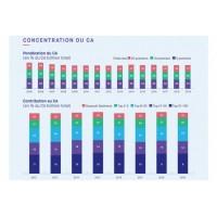Depuis 12 ans, le poids des tout premiers éditeurs au sein du Top100 français n'a guère évolué. Les 5 premiers comptent pour plus de la moitié du CA édition cumulé du Truffle100 et les 20 premiers pour plus de 75%. (Crédit : Truffle Capital/Teknowlogy)