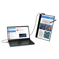L'écran ThinkVision M14t peut bien sûr être associé à un ordinateur Lenovo, mais aussi tout autre terminal portable équipé de ports USB-C. (Crédit : Lenovo)