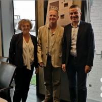 Marie-France Bridier (co-gérante de SDP), Patrice Bridier (dirigeant de SDP), aux côtés de leur nouveau patron Antoine Voillet (PDG de DynaMips). (Crédit DynaMips)