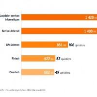 Le logiciel et les services en ligne représentent la moitié des levées de fonds de la French tech en 2020. (Capture EY)
