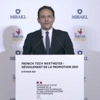 Cédric O, secrétaire d'Etat au Numérique, a donné hier, dans les locaux de Mirakl, les chiffres-clés des 120 entreprises de la sélection 2021 Next40/French Tech 120. (Crédit : ministère de l'Economie)