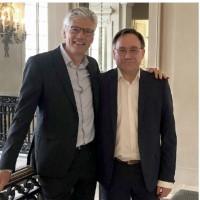 Jean-Michel Bénard (à gauche) et Alain Brigatti, présidents d'ITS Group et d'AMD Conseil, le 20 mai 202. Crédit photo : ITS Group