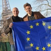 Daan de Wever (à droite), le CEO du groupe Destiny, et Laurent Silvestri, le fondateur d'OpenIP, au moment de la fusion entre les deux sociétés en 2018. Crédit photo : Destiny.