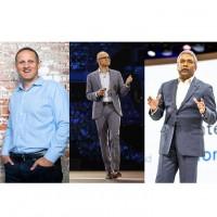 De gauche à droite : Adam Selipsky (CEO d'AWS); Satya Nadella (CEO de Microsoft) et Thomas Kurian (CEO de Google Cloud). Crédit photo : Tableau / Microsoft / Google Cloud