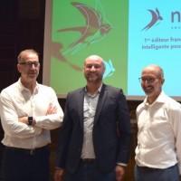 Aux côtés de Fabien Bréget (à droite), fondateur et PDG de Nomadia, Franck Garel et Jérémy Mandon (de gauche à droite), respectivement directeur de la R&D et directeur commercial de l'entreprise regroupant désormais Geoconcept, Danem et B&B Market. (Crédit : Nomadia)