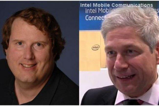 Mike Bell (à gauche) et Hermann Eul vont diriger l'entité Mobile and Communications Group (MCG) qu'Intel vient de créer (crédit photo : Intel)
