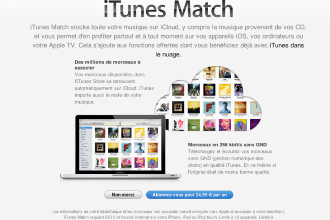 Apple lance iTunes Match en France
