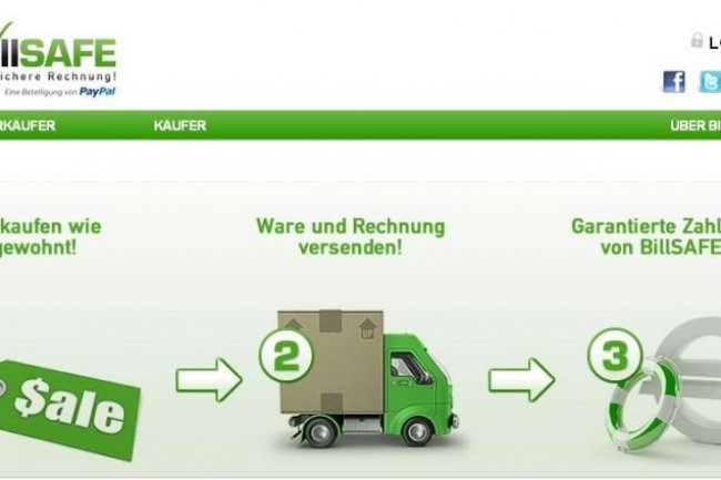 Le site web de la société allemande BillSafe qui permet de régler ses achats en ligne sur facture