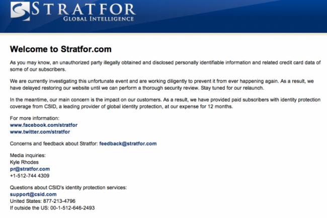 Le site de Stratfor est toujours en berne suite � l'attaque pr�sum�e des Anonymous
