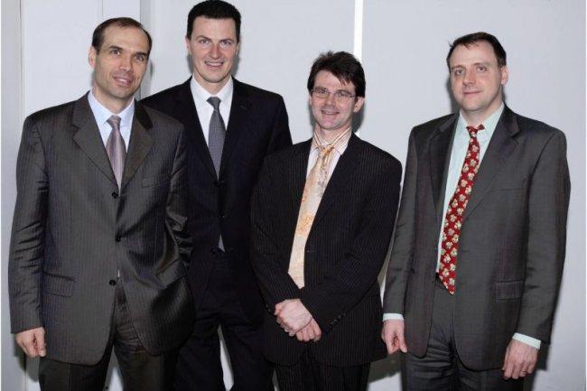 Les fondateurs de Neolane. De gauche à droite, Benoît Gourdon, Stéphane Dietrich, Stéphane Dehoche et Thomas Boudalier