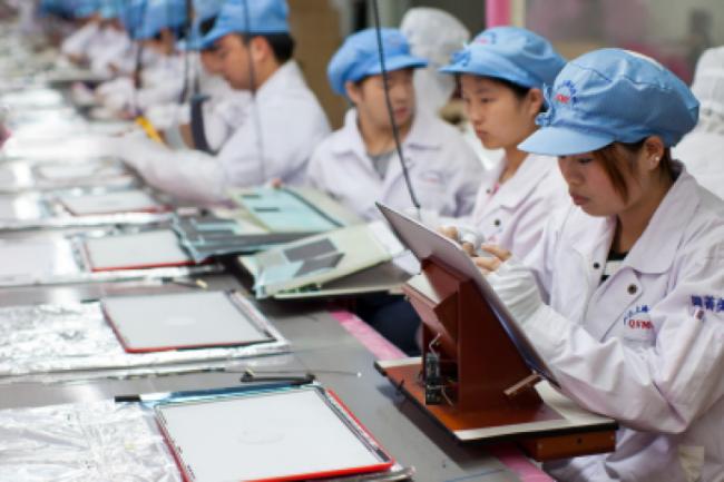 Une chaine de productions chez un sous-traitant d'Apple en Chine, crédit D.R.