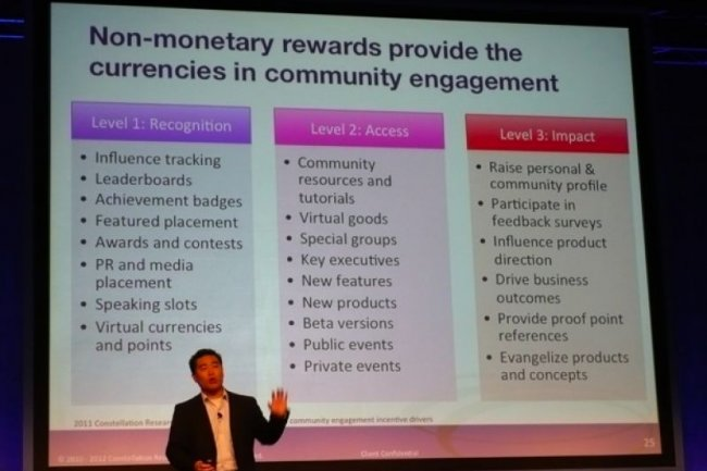 Sur Lotusphere/Connect 2012, l'analyste Ray Wang, PDG de Constellation Research, explique comment les mécanismes du jeu peuvent stimuler la participation des collaborateurs. (crédit : M.G.)