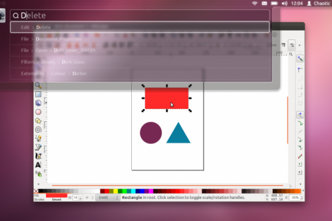 Une capture d'écran de la saisie HuD dans Ubuntu 12.04 attendu en avril 2012