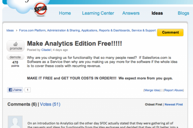 Les commentaires des clients sur le site de SalesForce.com