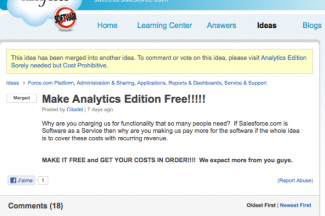 Décisionnel : Salesforce.com ne facturera pas de suppléments