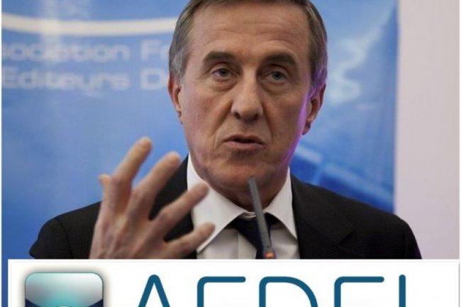Patrick Bertrand, président de l'Afdel, lors des voeux de l'association en janvier. Au-dessous, la nouvelle identité de l'association, à partir de mars prochain. (crédit : D.R.)
