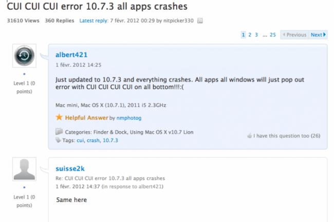 La dernière mise à jour d'Apple pour Mac OS X Lion, 10.7.3, a causé quelques tourments à des utilisateurs