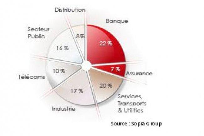 Le chiffre d'affaires de Sopra Group par march�s verticaux en 2010 (source : sopragroup.com)