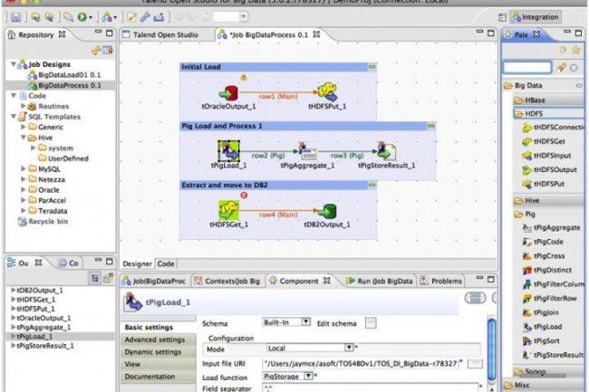 Open Studio for Big Data, de Talend, permet de préparer les jobs d'intégration à partir d'une interface drag and drop.