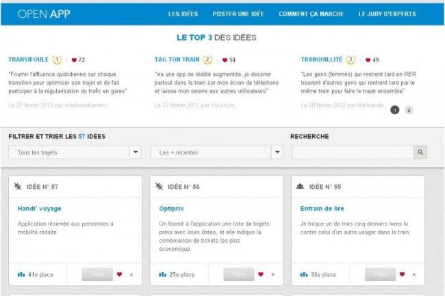 La SNCF a d�j� s�lectionn� pr�s de 60 id�es d'applications � d�velopper autour de ses donn�es rendues publiques.