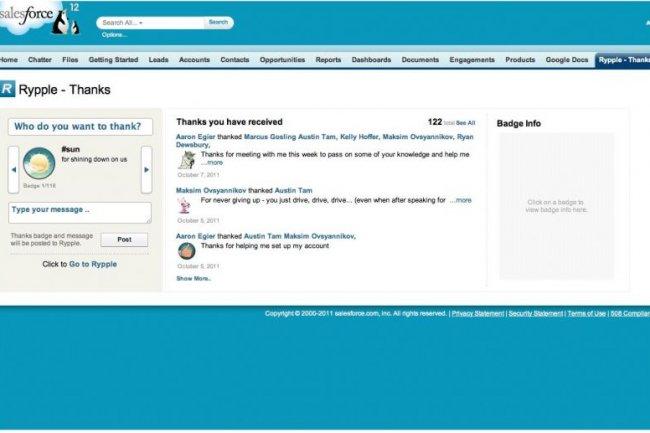 Salesforce.com a intégré Rypple à son logiciel de CRM en SaaS.