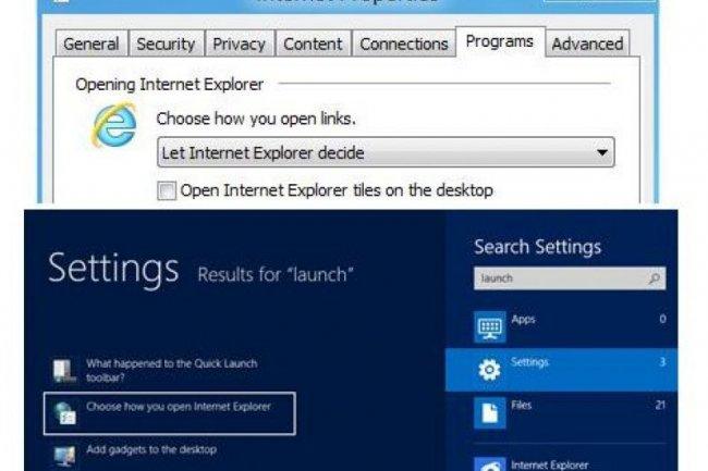 Par défaut, la bêta de Windows 8 ouvre les liens en utilisant la déclinaison d'IE10 qui correspond le mieux à l'environnement : application de type Metro ou classique (Crédit illustration : Microsoft)