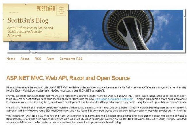 Extrait du blog de Scott Guthrie, responsable de la plateforme .Net chez Microsoft (crédit : D.R.)