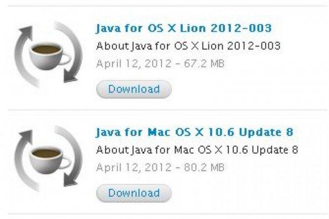 Les dernières mises à jour Java d'Apple peuvent être téléchargées sur le site du constructeur pour Snow Leopard et Lion.