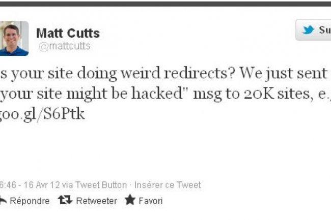 Le tweet de Matt Cutts, ingénieur chez Google dans l'équipe Webspam (source : @mattcutts)