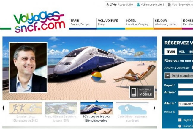 Le site Voyages-SNCF.com sécurise ses paiements avec 3D Secure (en médaillon : Yves Tyrode, DG du site, crédit D.R.).