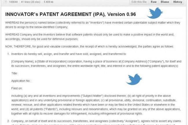 La proposition « Innovator's Patent Agreement » de Twitter a été postée sur github.com