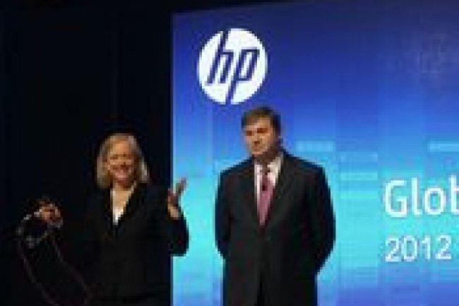 Meg Whitman, PDG, et Todd Bradley, vice-pr�sident de la r�cente division PPS de HP. Cr�dit Photo: D.R