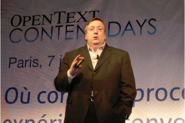 Mark Barrenechea, PDG d'Open Text, hier à Paris sur Content Days, la conférence des utilisateurs français (crédit : M.G.)