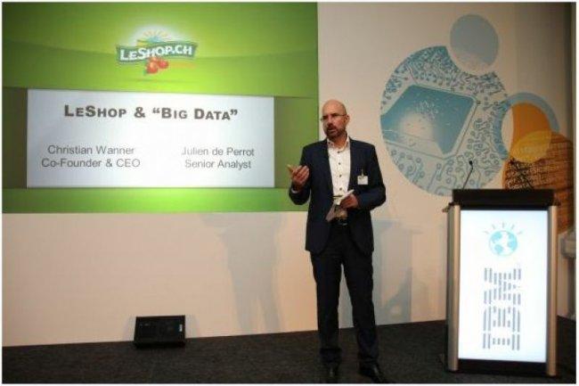 Christian Wanner, CEO de LeShop, a expliqué comment l'épicerie en ligne exploite les énormes volumes de données qu'elle récolte, sur l'IBM Technology Day de Lausanne. (crédit : D.R.)