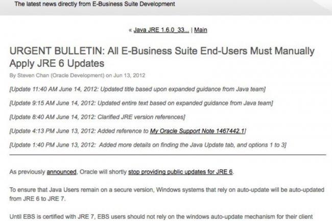 E Business Suite Oracle Demande De Desactiver La Mise A Jour