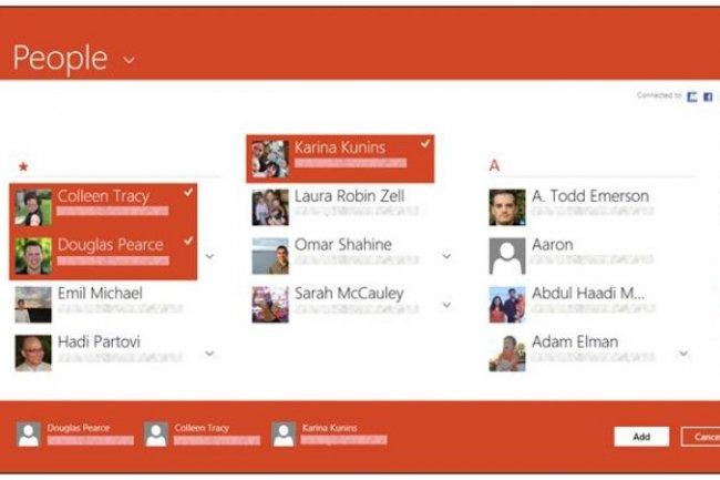 Le carnet d'adresses de Windows 8 s'appelle People App (crédit : D.R.)