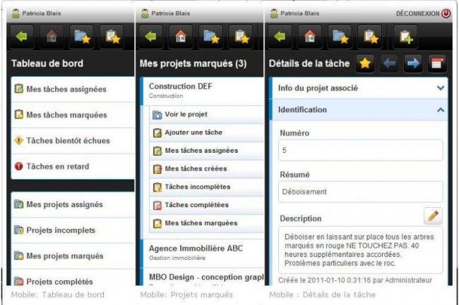 La version mobile d'AceProject renseigne sur les tâches et les projets, ainsi que le suivi du temps / Cliquer sur l'image pour l'agrandir (crédit : D.R.)