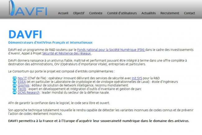 Davfi : 1er antivirus Open Source made in France