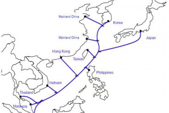 Carte du câble sous-marin d'Asia Pacific Gateway Crédit Photo: D.R