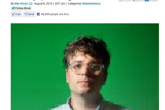 Le site web Wired où Mat Honan raconte sa mésaventure, crédit D.R.