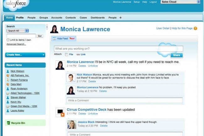 L'application Salesforce Communities s'appuiera sur la technologie du logiciel Chatter (ci-dessus), lancé en 2010.