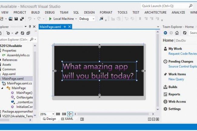Microsoft livre Visual Studio 2012 pour développer en équipe ou de façon indépendante des applications pour le web, les mobiles ou en version desktop  (crédit : D.R.).