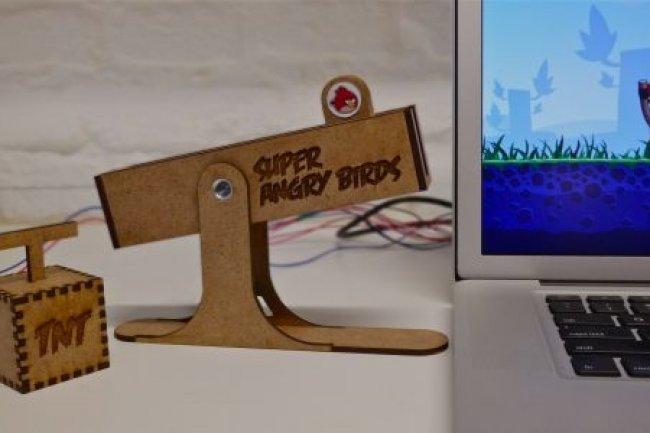 Une catapulte pour jouer à Angry Birds