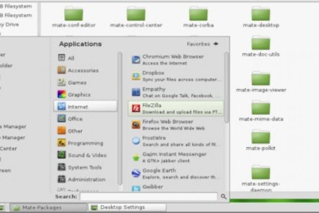 L'interface Mate est un fork de Gnome 2 livrée avec la distribution Mint linux