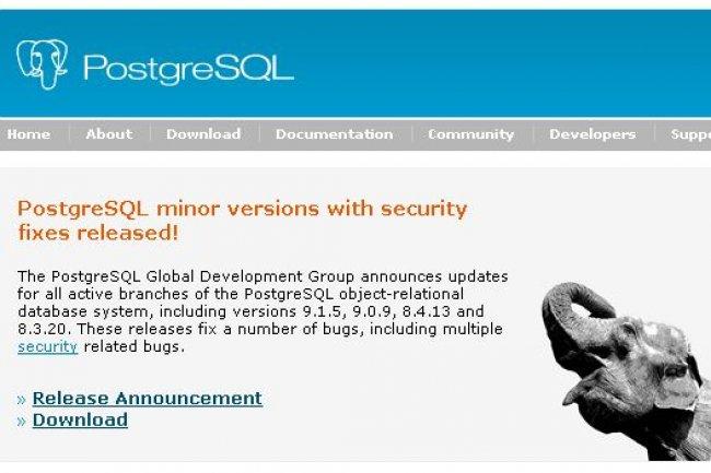 Mise à jour de sécurité pour la base de données PostgreSQL